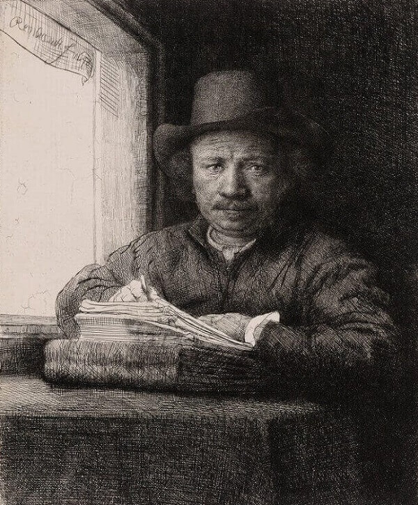 Rembrandt Drawing at a Window, 1648 by Rembrandt
