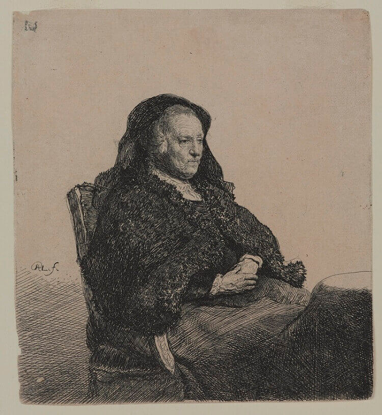 Rembrandt's Mother at a Table, 1631 by Rembrandt