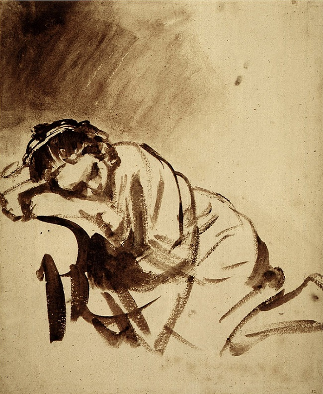Sleeping Woman, 1655 by Rembrandt