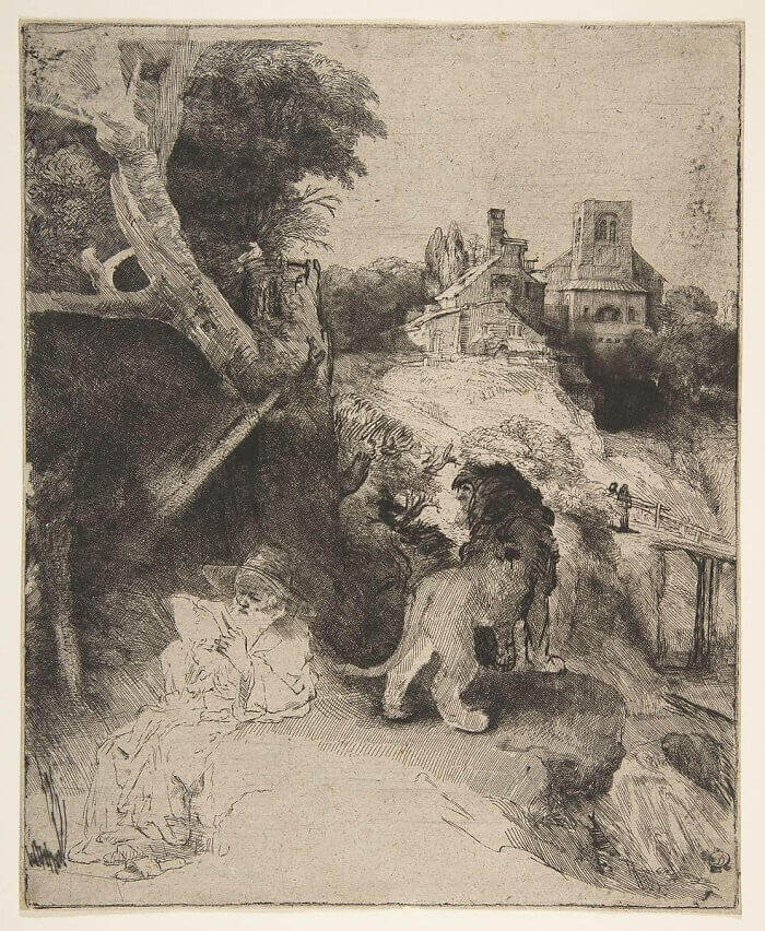 St Jerome Reading in an Italian Landscape, 1654 by Rembrandt