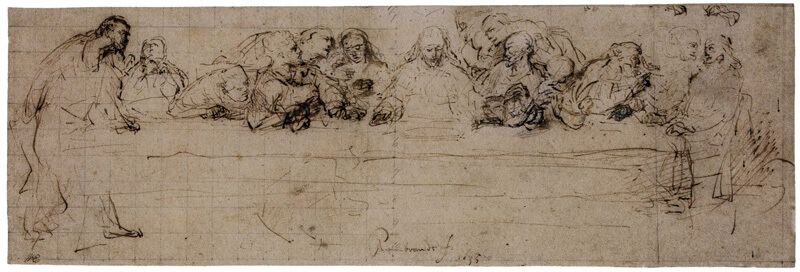 The Last Supper Drawing After Leonardo by Rembrandt