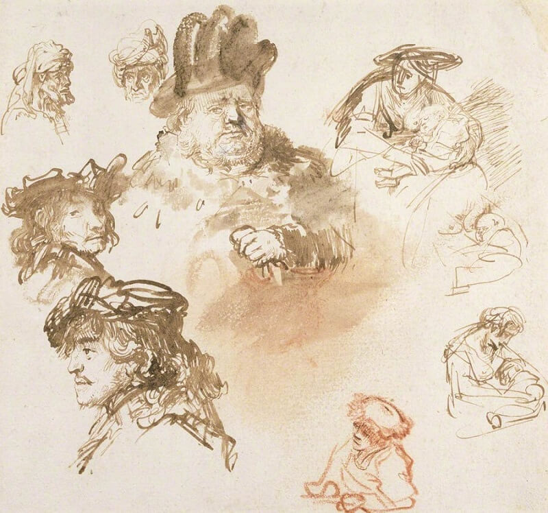 The Sheet of Studies by Rembrandt
