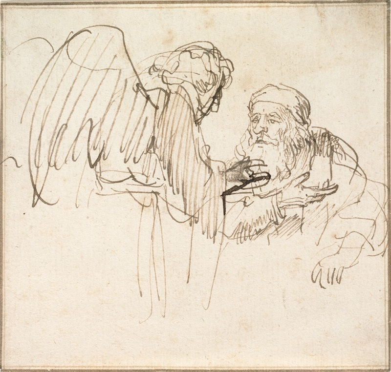 Zacharias and the Angel by Rembrandt