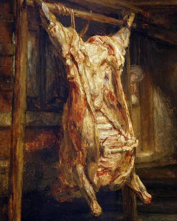 Slaughtered Ox, 1655 by Rembrandt van Rijn