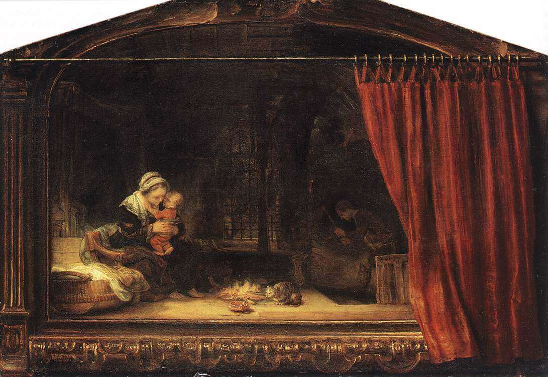 The Holy Family with a Curtain, 1646 by Rembrandt